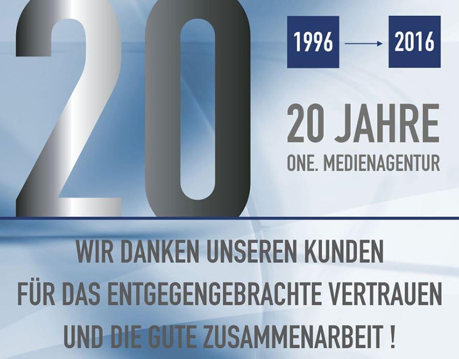 20 Jahre one. medienagentur 20 Jahre one. medienagentur banner 20 jahre Update it banner 20 jahre