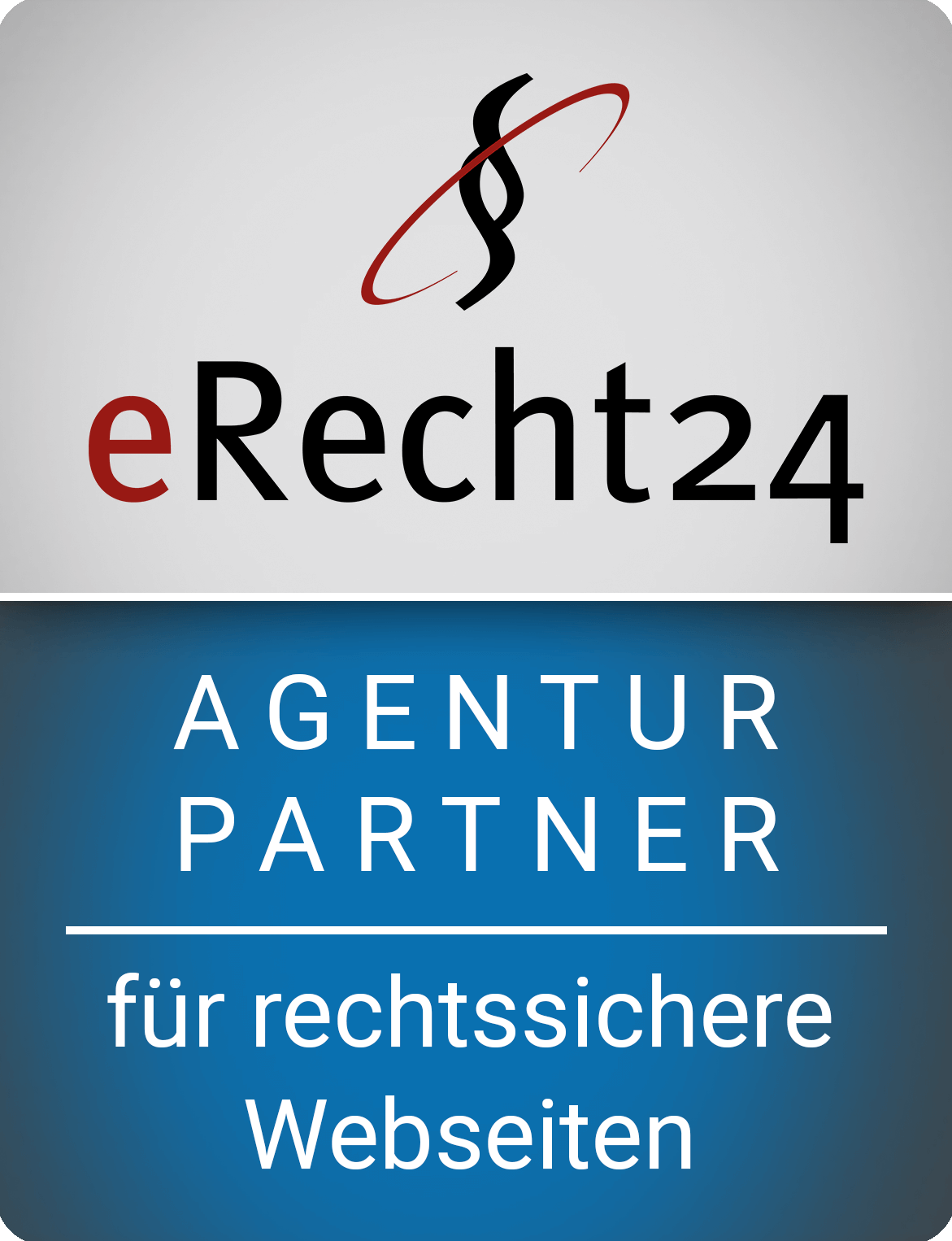 Wir sind Agenturpartner von eRecht24 erecht24 siegel agenturpartner blau gross  Update it erecht24 siegel agenturpartner blau gross