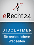 Disclaimer erecht24 siegel disclaimer blau