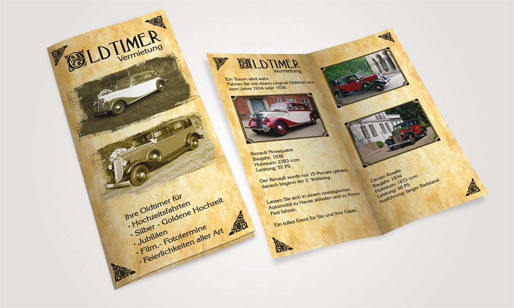 Flyer Oldtimer Vermietung kuechenmeister  Show it kuechenmeister
